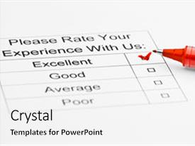 Amazing presentation theme having experience checkbox in customer service backdrop and a white colored foreground.