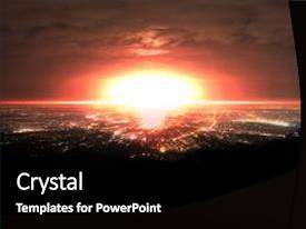 Slide deck having explosion of nuclear bomb explosion background and a black colored foreground.