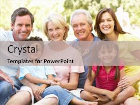 PPT theme consisting of extended group portrait of family background and a light gray colored foreground.
