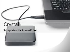 Presentation theme featuring external hard drive connected background and a white colored foreground