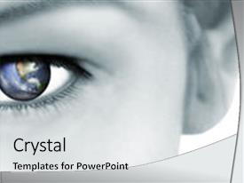 Presentation theme featuring eye world vision conservation global background and a light gray colored foreground.