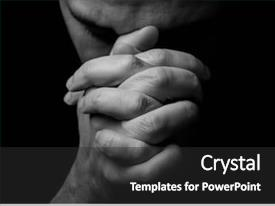 Beautiful slide deck featuring eyes closed in religious backdrop and a dark gray colored foreground