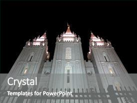 Audience Pleasing PPT Theme Consisting Of Facade Mormon Temple At Square