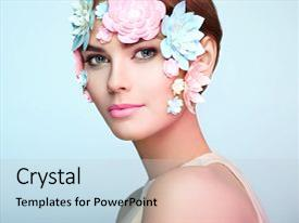 Presentation theme consisting of face of beautiful woman decorated with flowers perfect makeup beauty fashion model woman face perfect skin paper flowers background and a light gray colored foreground.