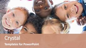 Amazing PPT theme having face of happy multiethnic children backdrop and a coral colored foreground