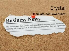Presentation theme having fake business news newspaper clipping background and a  colored foreground.
