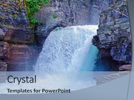 PPT layouts enhanced with falls in glacier national park background and a light blue colored foreground.