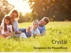 Cool new slides with family - children in green nature make backdrop and a yellow colored foreground