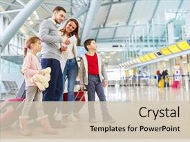 Presentation design having family and children with luggage background and a soft green colored foreground