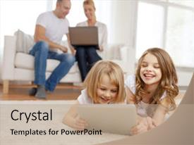 PPT layouts enhanced with family children technology and home background and a coral colored foreground.