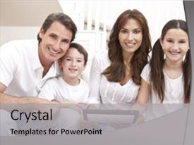 Colorful slide deck enhanced with family of mother father son backdrop and a light gray colored foreground.
