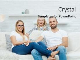 Presentation theme with family portrait happy family sitting background and a light gray colored foreground.