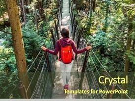 Presentation design featuring famous attraction capilano suspension bridge background and a tawny brown colored foreground