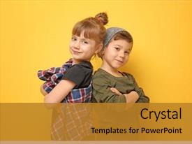 Theme with fashion - cute stylish children on color background and a gold colored foreground