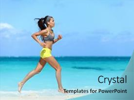 Cool new PPT theme with motivation - fast barefoot on sand training backdrop and a light blue colored foreground.