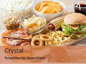 Presentation theme with fast food and unhealthy eating background and a coral colored foreground