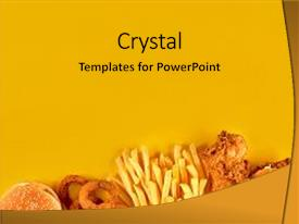 Colorful Presentation Theme Enhanced With Fast Food Dish On Yellow Background Set Fried Chicken