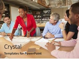 PPT layouts featuring female boss leading meeting background and a coral colored foreground