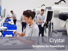 Beautiful slide set featuring female engineer quality controlling components backdrop and a gray colored foreground