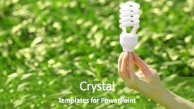 PPT theme consisting of female hand holding light bulb background and a tawny brown colored foreground