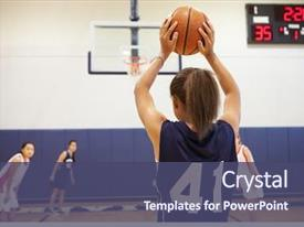 Presentation theme having female high school basketball player background and a ocean colored foreground