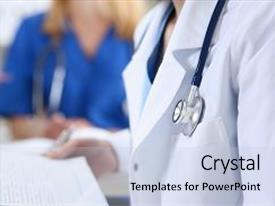 Amazing slides having female medicine doctor hand holding silver pen looking in clipboard pad closeup ward round patient visit check 911 medical calculation and statistics concept physician ready to examine patient backdrop and a  colored foreground.