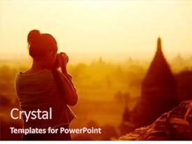 Amazing slide deck having female traveler photographing temples backdrop and a tawny brown colored foreground