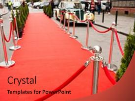 PPT theme featuring award gala - festival cannes - red carpet background and a red colored foreground.