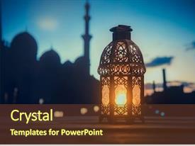 Cool new PPT theme with ramadan kareem greeting photo with serene mosque background with beautiful glowing lantern backdrop and a light gray colored foreground