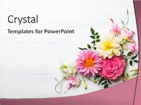 PPT layouts featuring festive flower composition background and a cool aqua colored foreground