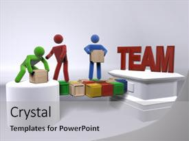 Cool new PPT theme with figures engaging in team building backdrop and a light gray colored foreground.
