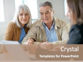Presentation having finance - senior couple meeting financial adviser background and a coral colored foreground