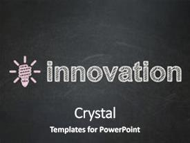 Slide set with lamp icon and text innovation background and a dark gray colored foreground