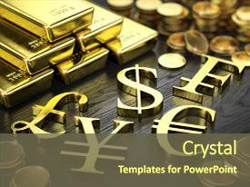 Beautiful slide deck featuring finance stock exchange concept - gold backdrop and a tawny brown colored foreground.