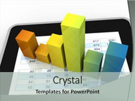 PPT theme with financial and market analysis background and a light gray colored foreground.