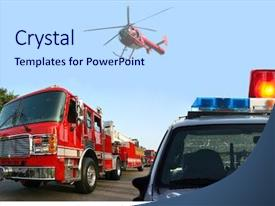 Amazing PPT layouts having fire department response backdrop and a light blue colored foreground