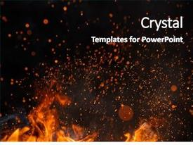 Slides featuring fire sparks particles with flames background and a black colored foreground