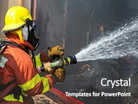 Amazing PPT layouts having firefighter hold and adjust nozzle backdrop and a dark gray colored foreground.