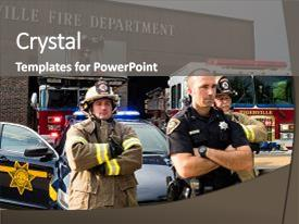 Colorful presentation theme enhanced with firefighters standing behind police officer backdrop and a gray colored foreground.