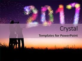 presentation design featuring fireworks and happy new year background and a colored foreground