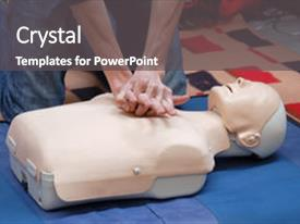 PPT layouts having first aid demonstration using first background and a dark gray colored foreground.