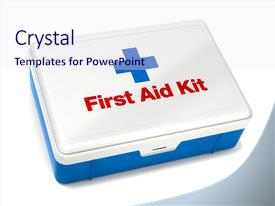 Presentation with first aid kit isolated background and a sky blue colored foreground.