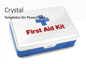 Cool new presentation theme with first aid kit isolated backdrop and a white colored foreground.