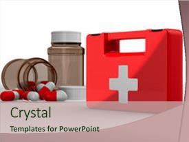 Cool new PPT theme with first aid kit on white backdrop and a soft green colored foreground.
