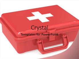 Amazing PPT theme having first aid kit red isolated backdrop and a red colored foreground.