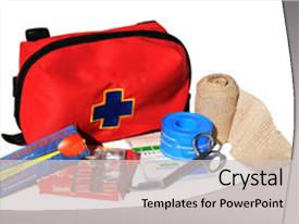 Audience pleasing slide set consisting of first aid kit with content backdrop and a light gray colored foreground.