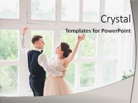 Cool new slide deck with first wedding danc wedding couple backdrop and a white colored foreground.