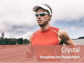 Cool new PPT layouts with fit athlete jogging on competition backdrop and a coral colored foreground