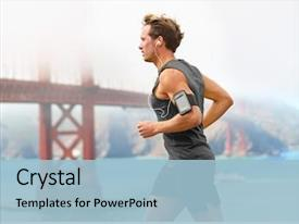 Audience pleasing PPT theme consisting of fitness - running man - male runner backdrop and a light blue colored foreground