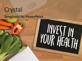 PPT layouts enhanced with balance diet - fitness equipment and healthy food background and a coral colored foreground.